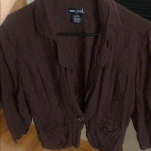 Brown one button blazer
